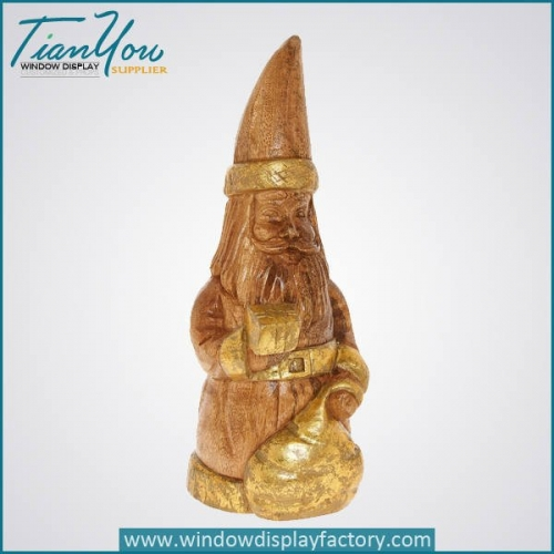 Imitation Wood Christmas Decoration Resin Santa Claus