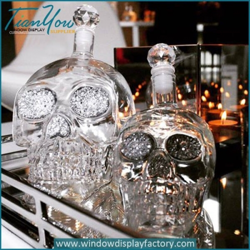 Clear Popular Decoration Glass Skull Bottle Display Props