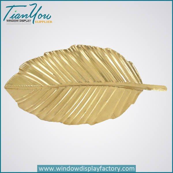 vintage decorative fiberglass golden leaves - Vintage Decorative Giant Fiberglass Golden Leaf
