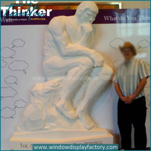 White Life Size Fiberglass Thinker Statues Display Props