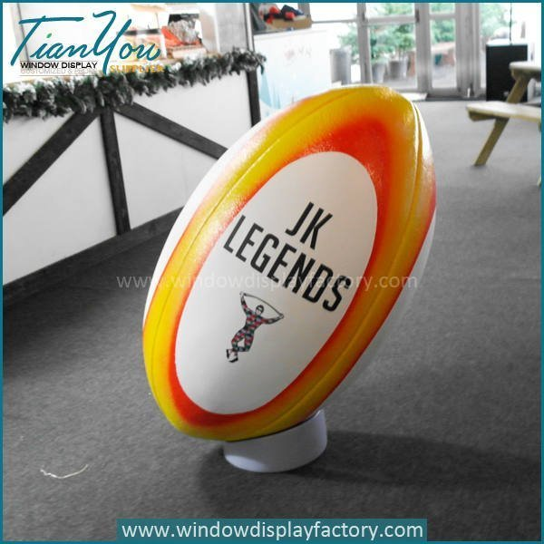 Durable Giant Fiberglas Rugby Ball Display Decoration