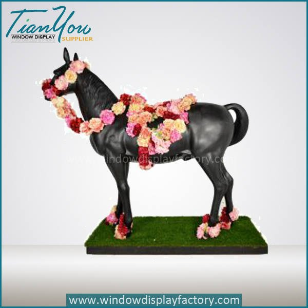 Outdoor Life Size Statue Fiberglass Horse Display