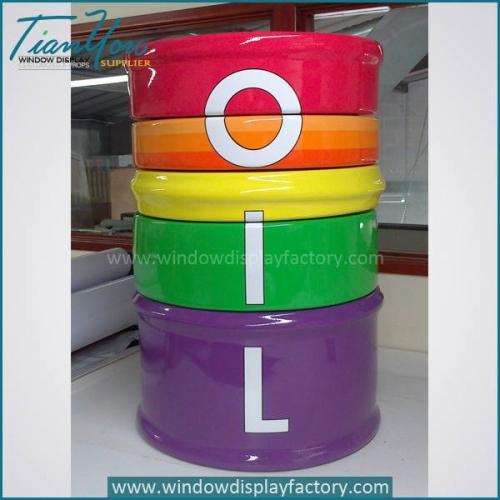 Custom Round Colorful Fiberglass Oil Drum Display