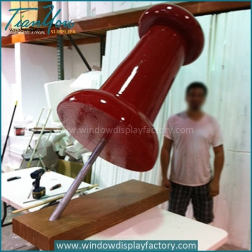 Giant Hand Made Red Fiberglass Pushpin Craft Display