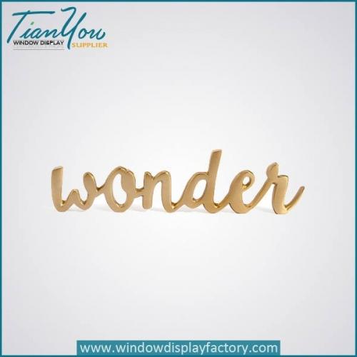 Custom Imitation Copper Golden Wonder Resin Letter Decoration