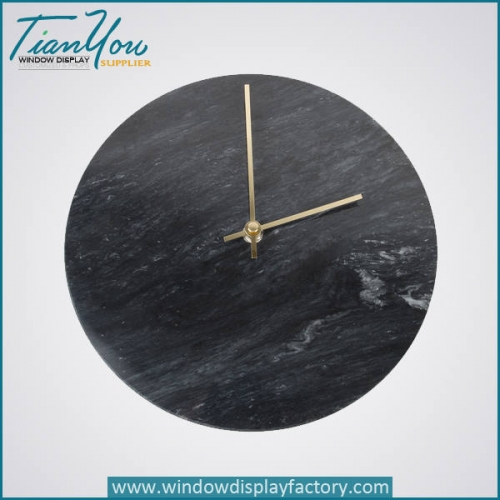 resin imitation marble clock 500x500 - Simple Style Custom Decorative Round Resin Wall Clock