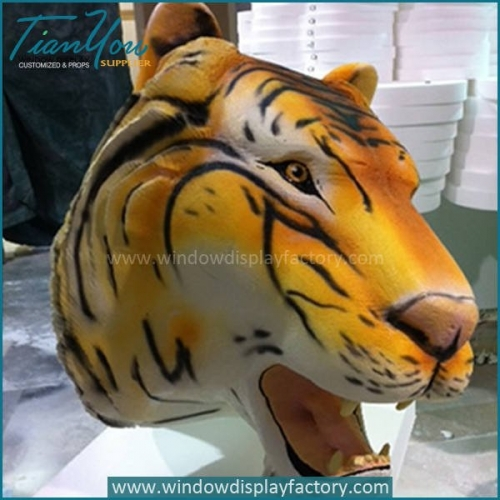 Animal Park Equipment 3D Resin Tiger Head Decoration