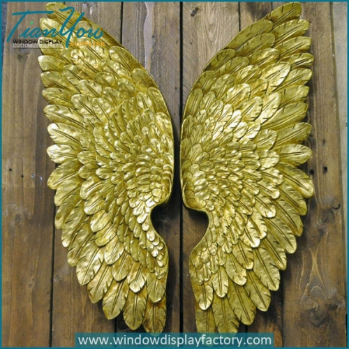 Vintage Decorative Giant Fiberglass Golden Feather Wing