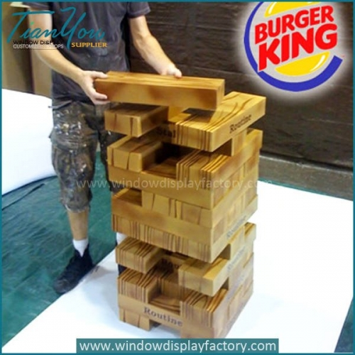 Custom Lightly Wood Bricks Tower Game Pieces