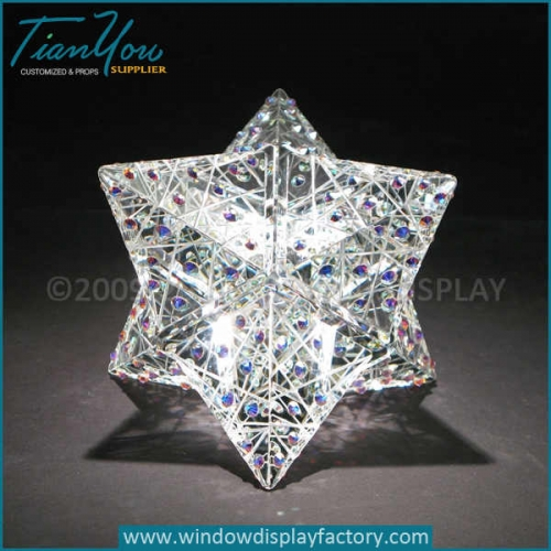 Custom multi angle starts diamond millefiori paperweights for sale
