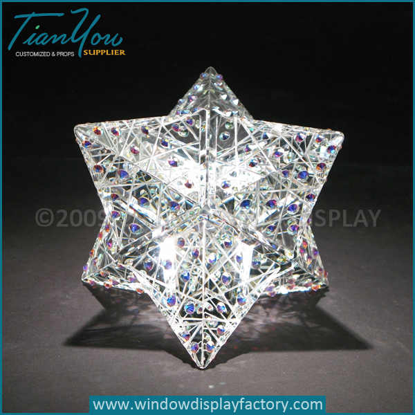 Custom multi angle starts diamond glass paperweights for sale