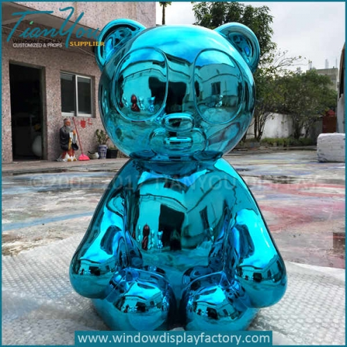 Custom mirror electroplating outdoor giant bear statues